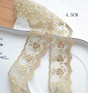 Image 4 - 3 Meters Champagne Gold Thread  Flower Net Dress Lace Trim Embroidery Lace Accessories 4.5cm Width Free Shipping