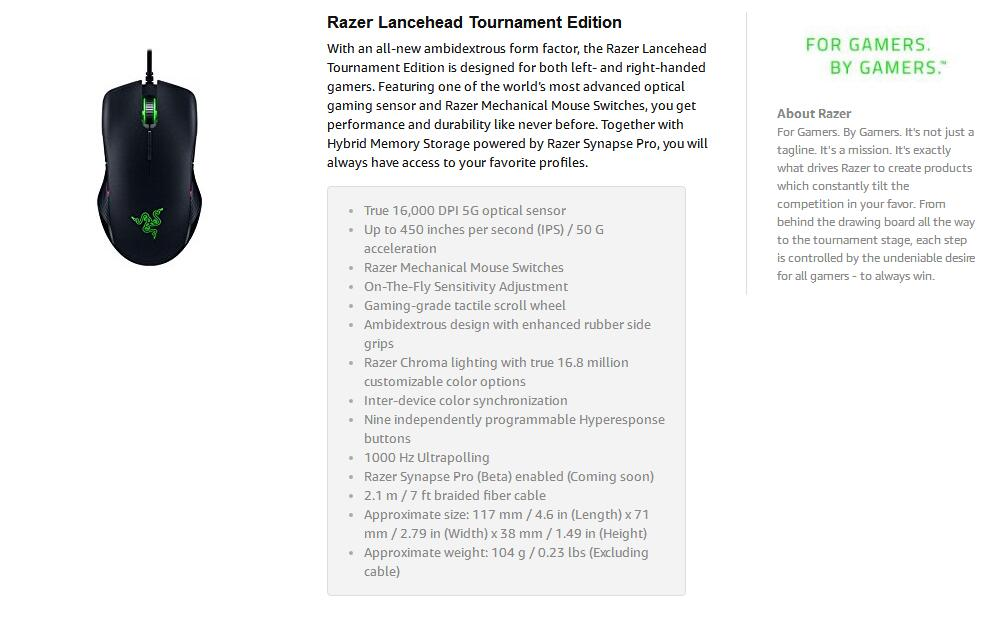 Detail Feedback Questions about Razer Lancehead Tournament Edition