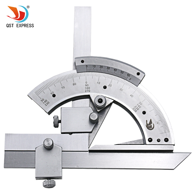 QSTEXPRESS 0-320 Universal Stainless Steel Bevel Protractor Angular Dial ruler goniometer 300mm multifunctional combination square ruler stainless steel horizontal removable square ruler angle square tools metal ruler