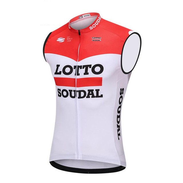 Special Price 2018 pro team red lotto soudal windproof cycling vest 3  pockets mens summer bike 0f8ba7891