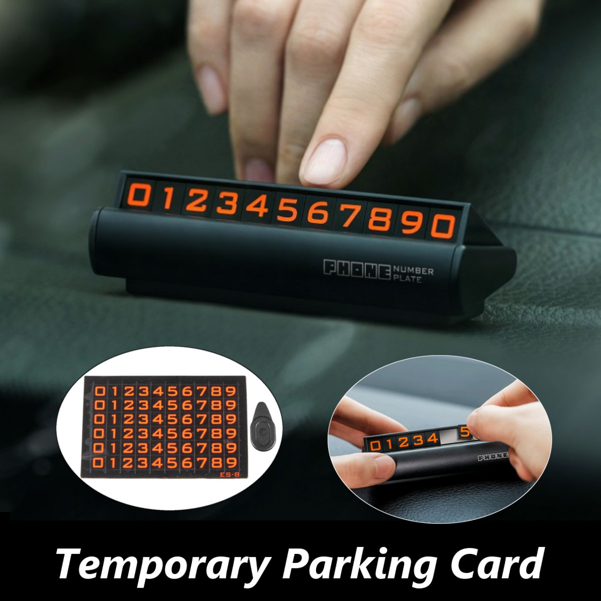 Black/Silver Car Auto Temporary Parking Phone Number Plate Card Fluorescent Magnetic Upscale Temporary Berth For BMW Uiversal