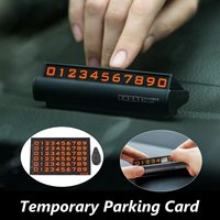 Black Silver Car Auto Temporary Parking Phone Number Plate Card Fluorescent Magnetic Upscale Temporary Berth For