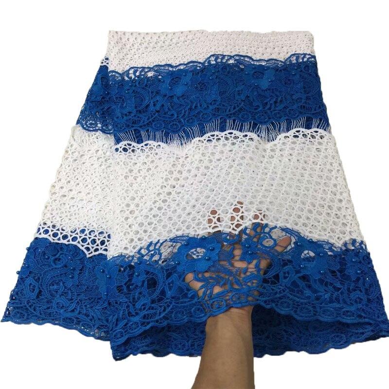 5 Yards/Lot bleu/blanc robe Guipure dentelle nigéria Polyester cordon dentelle tissu dernière afrique dentelle haute qualité dentelle tissu X844-1