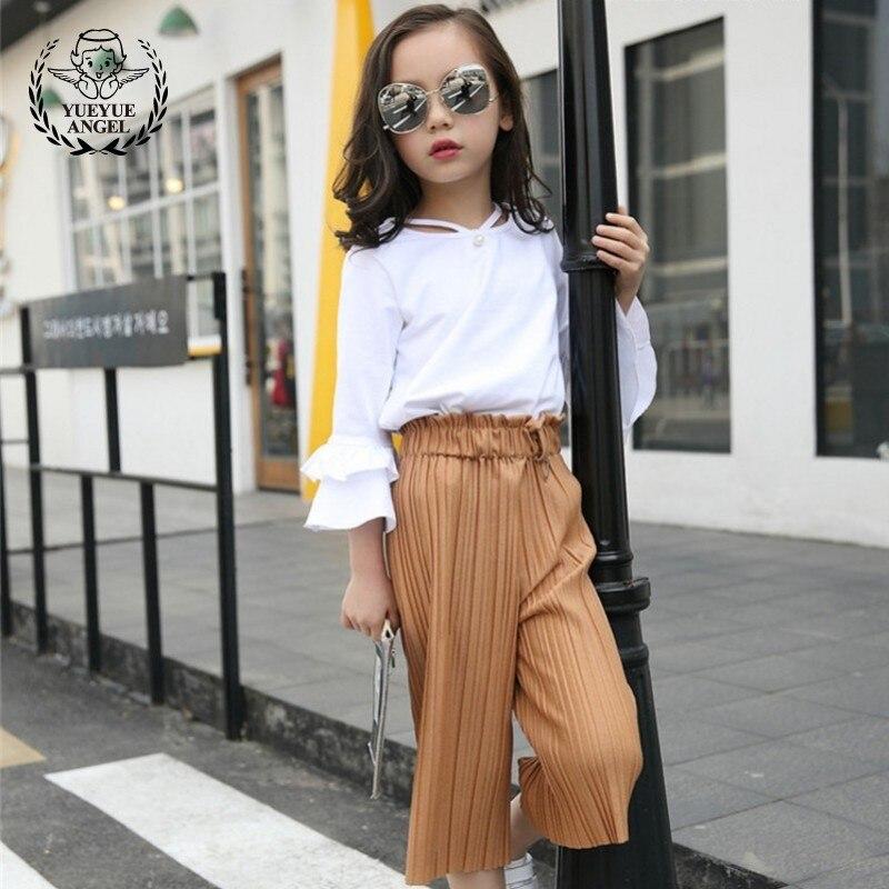 Summer 2018 Boutique Kids Clothing Korean Style V Neck Girl Clothes Set Casual Loose Fit Conjunto Menina Kiz Cocuk Kiyafetler