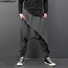 INCERUN, мужские брюки с глубоким шаговым швом, джоггеры, шаровары, Мужские штаны с эластичной резинкой на талии, Свободные Мешковатые повседневные штаны размера плюс, брендовая одежда для мужчин