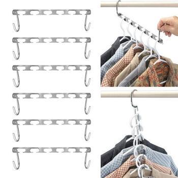 Wielofunkcyjne koszule wieszaki na ubrania wiszący łańcuch metalowy wieszak do szafy koszule Tidy Save Space Organizer wieszaki na ubrania tanie i dobre opinie CN (pochodzenie) stainless steel hangers for clothes Neatening Storage semi ring Metal Hangers Hand-Held Clothes Hanger