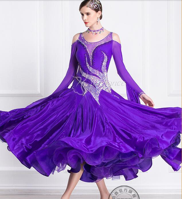 Ballroom Dress  Woman  Ballroom Dresses Dance Blue Customize Ballroom Dress Competition Lycra B-18430