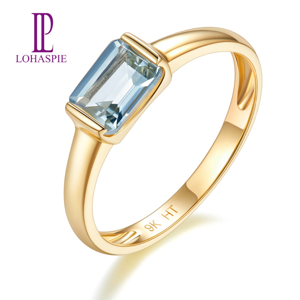 Natural Gemstone Aquamarine Yellow Gold Engagement Ring Solid 9K Fine Fashion Stone Jewelry For Womens Gift Lohaspie NewNatural Gemstone Aquamarine Yellow Gold Engagement Ring Solid 9K Fine Fashion Stone Jewelry For Womens Gift Lohaspie New