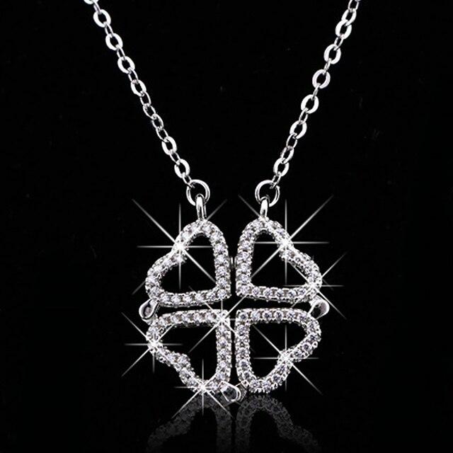 Buyee réel 925 argent Sterling trèfle colliers femmes 2 Style peut être divisé en 4 coeur-forme pendentif collier pour les femmes bijoux