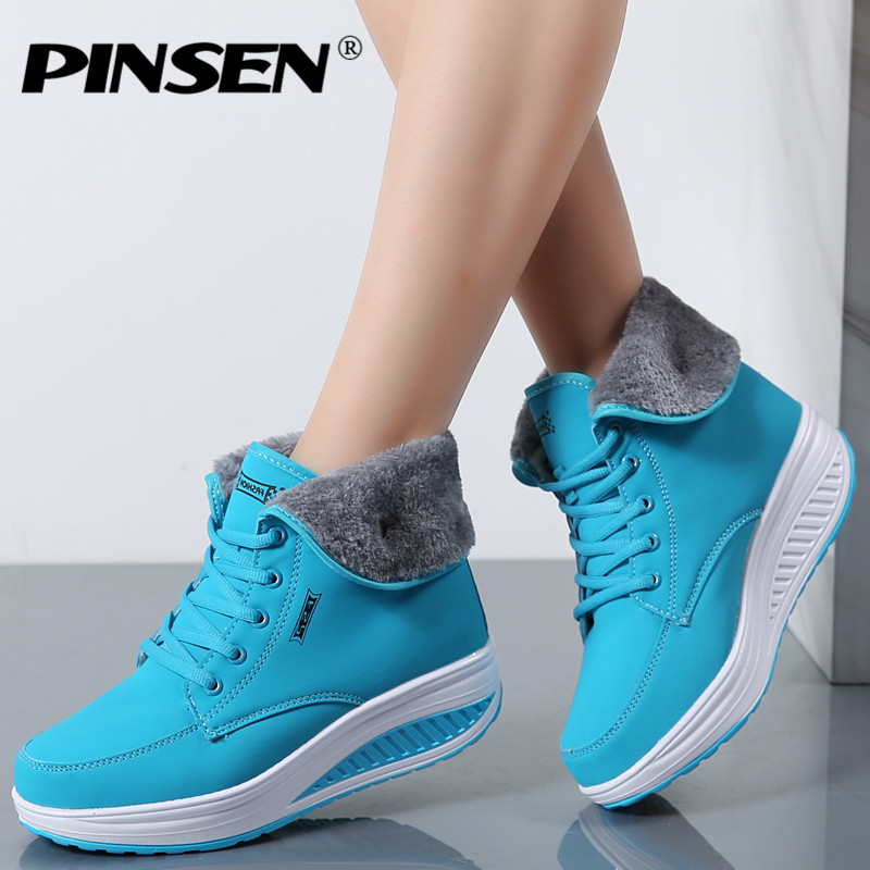 PINSEN Women Boots With Fur Winter Ankle Boots Wedges Women Warm Shoes Fashion Snow Boots High Quality Fur Shoes Femal Footwear zorssar 2017 new classic winter plush women boots suede ankle snow boots female warm fur women shoes wedges platform boots