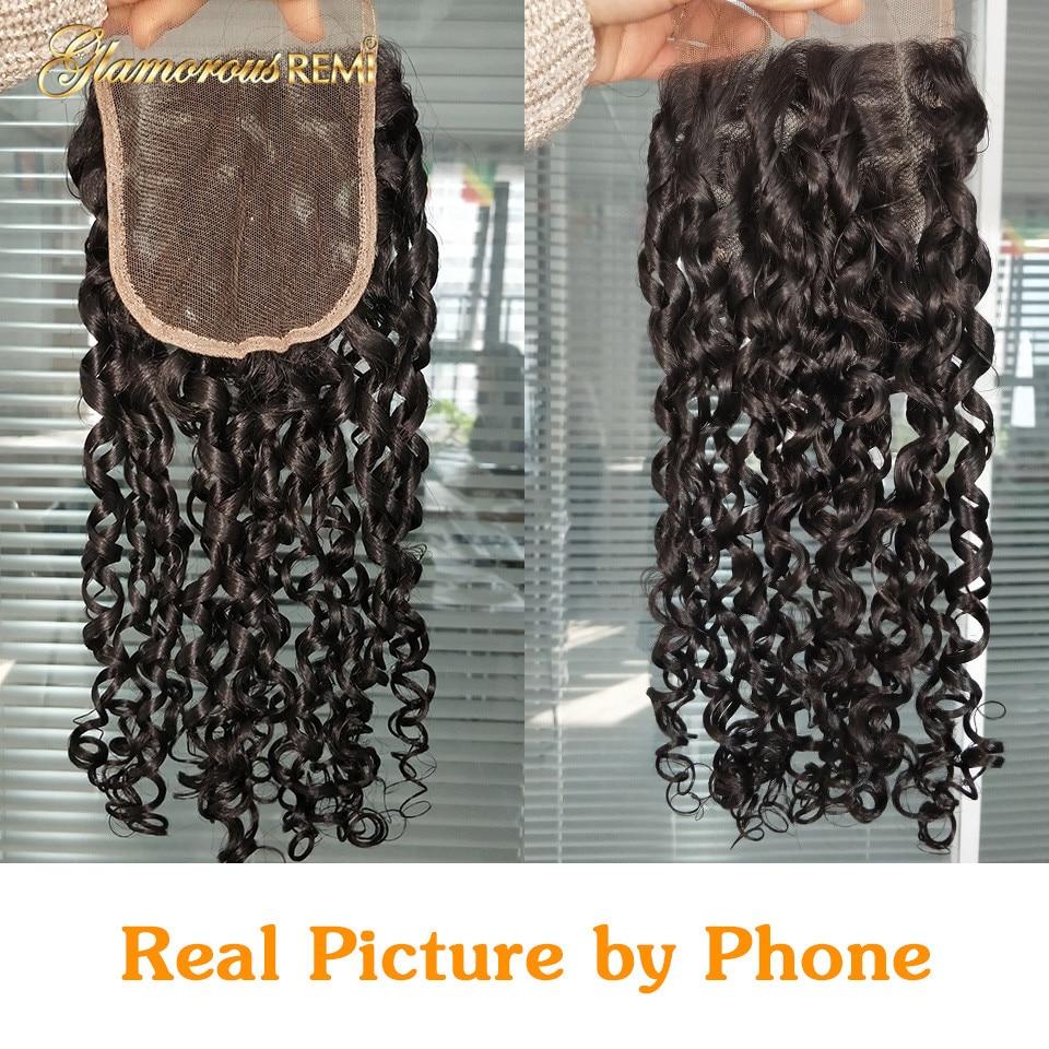 Double Drawn 3 Bundles With Lace Closure Pixie Curl Weave High Ratio 5