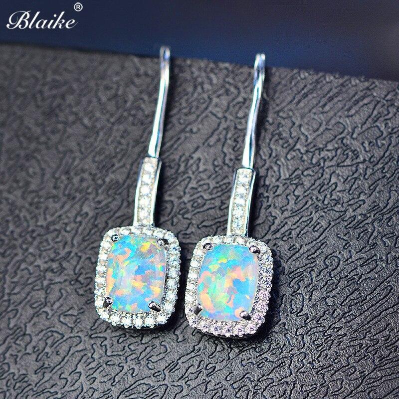 Blaike White/Blue/Green/Purple Fire Opal Drop Earrings For Women 925 Sterling Silver Filled Colorful Birthstone Dangle Earrings
