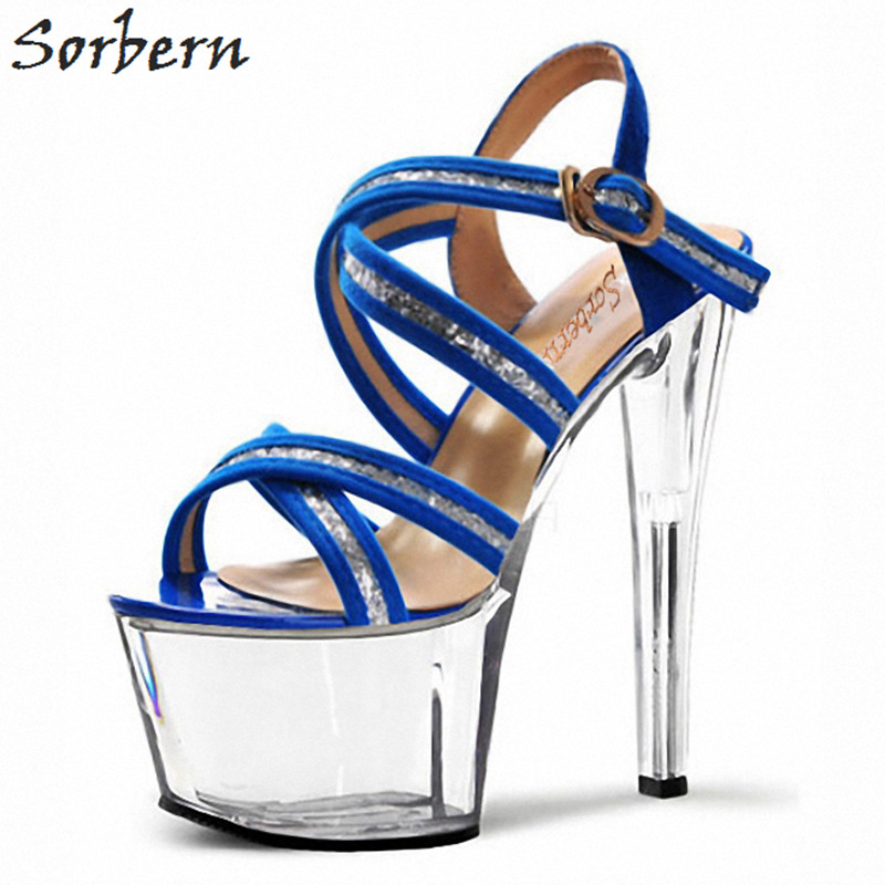 Sorbern 15Cm/17Cm Royal Blue Heeled Sandals Sexy High Strap Sandals Designer Sandals Women Luxury 2018 Women Platform Shoes best loved 7 inch shoes sexy fashion sexy crystal diamond sandals 17cm high heeled shoes