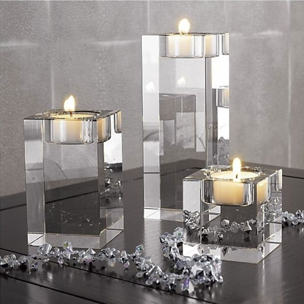 Candles & Holders European High Candlestick Glass Candle Holder Romantic Dinner Decoration Hg99