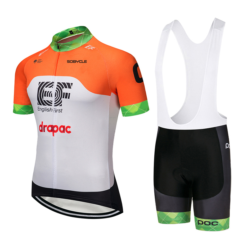 2018 TEAM EF ORANGE Cycling Clothing Bike jersey Ropa Quick Dry Mens Bicycle summer TOPS pro Cycling Jerseys gel pad bike shorts