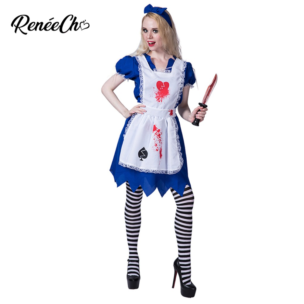 Halloween Costume For Adult Women zombie Alice Costume Lady Vampire Cosplay For Party Bloody Dress scary cosplay costume 2018