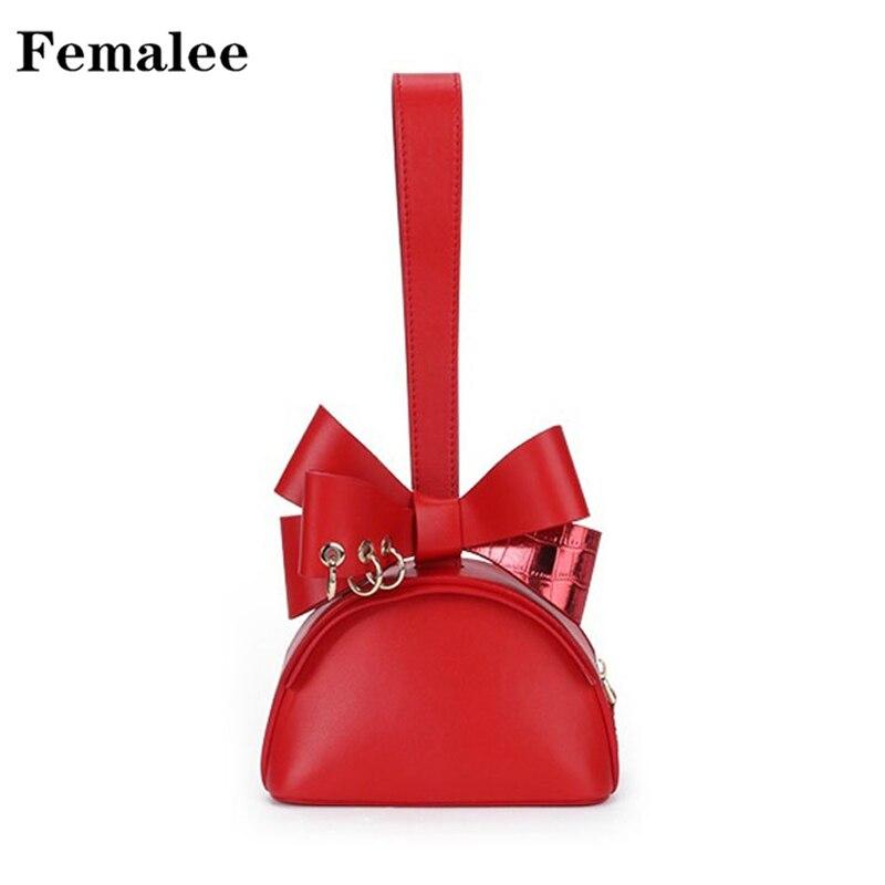 FEMALEE Bow Tie Ladies Luxury Handbags Women Fashion Design Bag Cute Mini Jelly Qualited Top Handle Bag Hand moving Female Tote