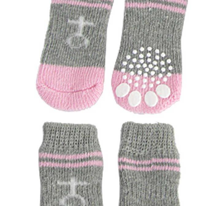 Roze Grijs Antislip Warme Gebreide Sokken Bootie voor Hond