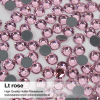 Lt Rose 1440pcs Lot All Sizes High Quality Flatback Hotfix Crystal Strass With Strongly Glue Rhinestones