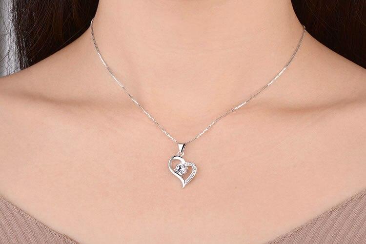 TJP Popular 925 Sterling Silver Women Pendant Necklace Bride Jewelry Vintage Heart Choker Girl Lady Accessor Dropshipping in Pendants from Jewelry Accessories