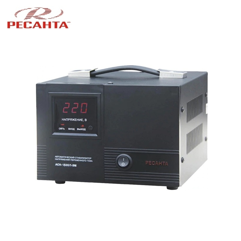 Single phase voltage stabilizer RESANTA ASN-1500/1 EM Voltage regulator Monophase Mains stabilizer Surge protect Power stab single phase voltage stabilizer resanta asn 500 1 em voltage regulator monophase mains stabilizer surge protect power stab