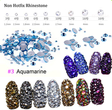 (Aquamarine) 1440pcs Crystal Rhinestones Flat Back Loose Diamante Glass Gems Nail Art Crafts SS3-SS16