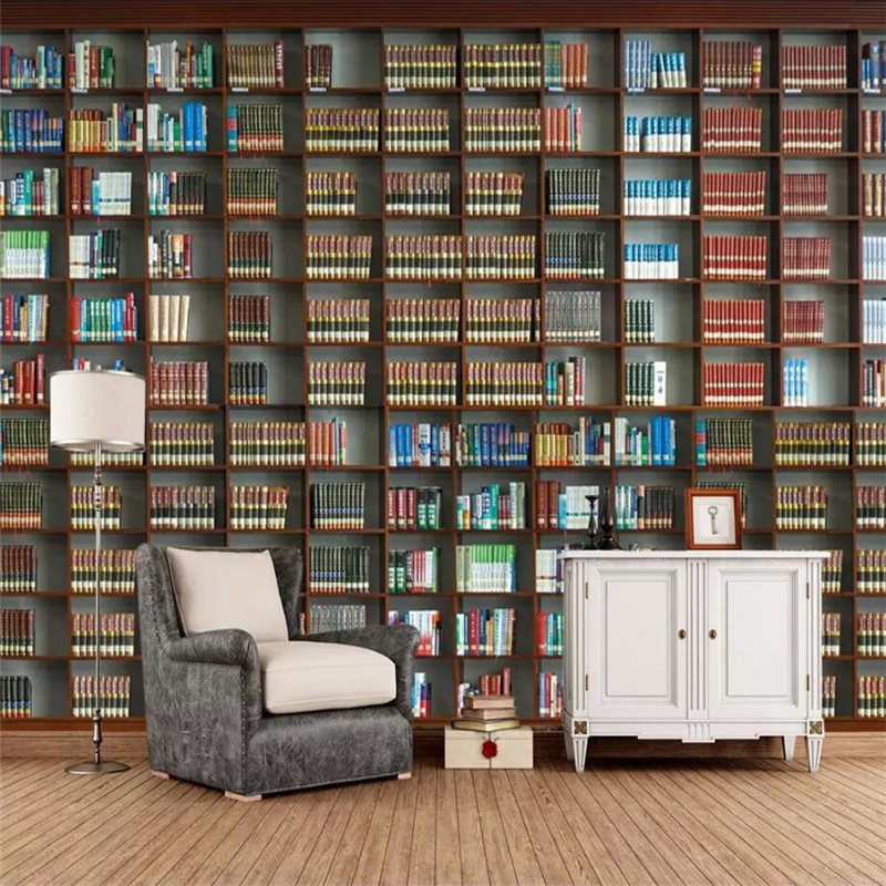 Fabric & Textile Wallcoverings Fast Deliver 3d Bookshelf Bookcase Background Wall Professional Production Mural Factory Wholesale Wallpaper Mural Poster Photo Wall Painting Supplies & Wall Treatments