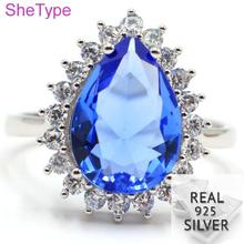 US size 7# 4.13g Real 925 Solid Sterling Silver Drop Shape Blue Violet Tanzanite White CZ Ladies Ring 19x16mm brand linsion huge heavy 925 sterling silver green red cz eyes skull mens biker rocker punk ring 9m604 us size 7 15