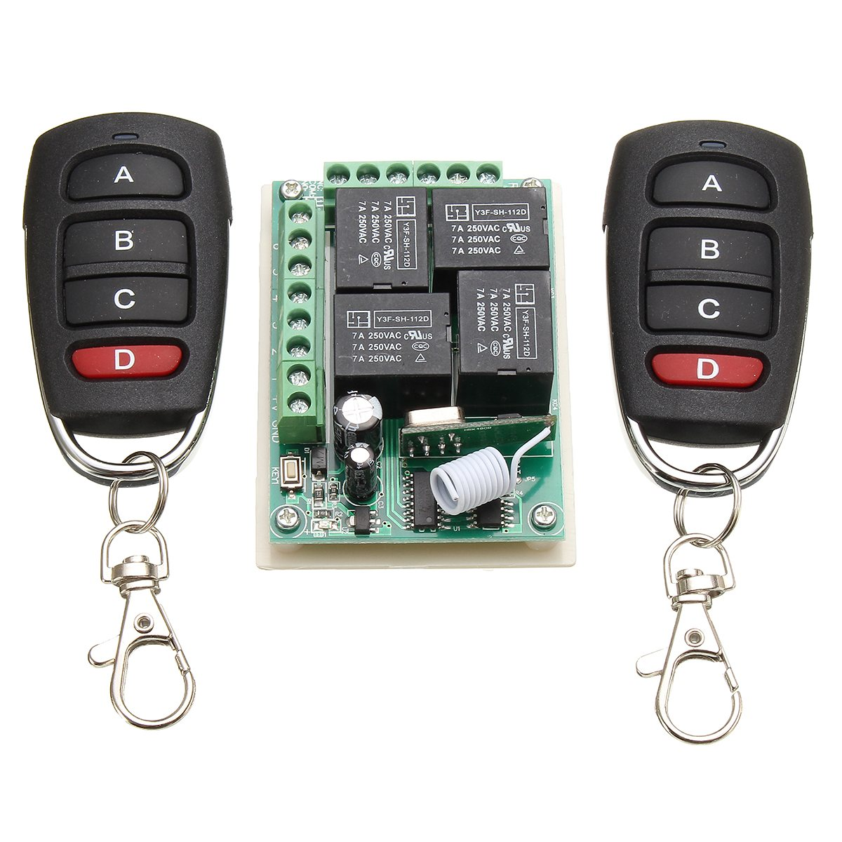 KROAK 433Mhz Universal Wireless Remote Control Switch DC 12V 4CH Channel Relay 2 Transmitter+Receiver стоимость