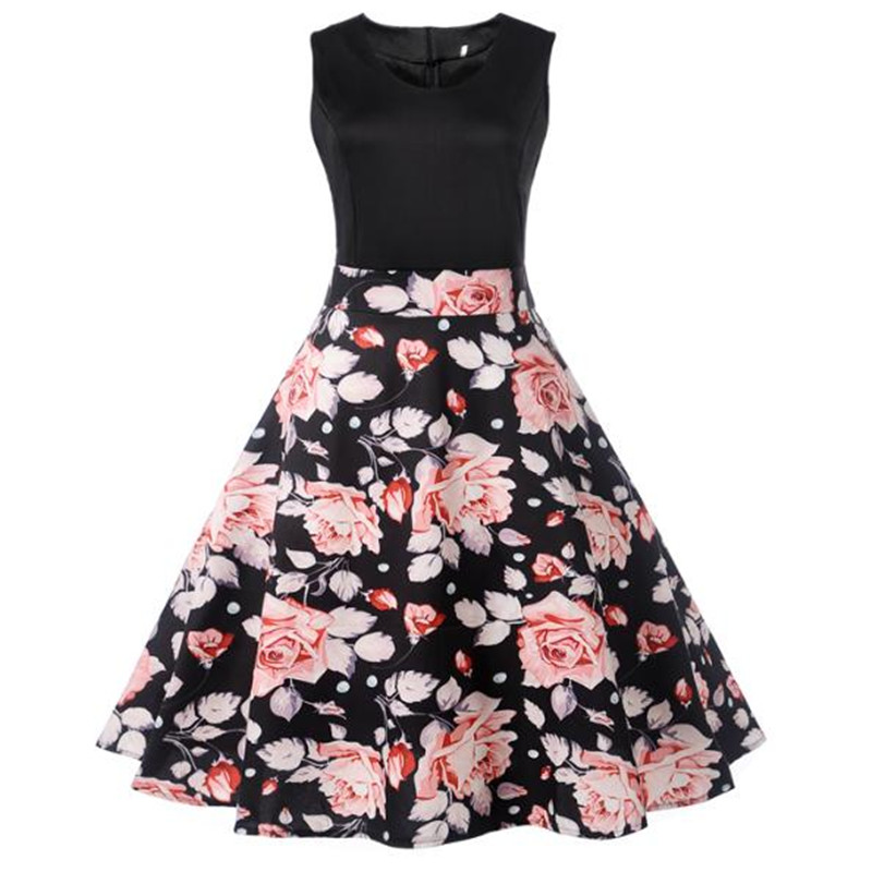 Summer Casual Dress Women Cotton Floral Print Elegant Vintage Sleeveless Dresses