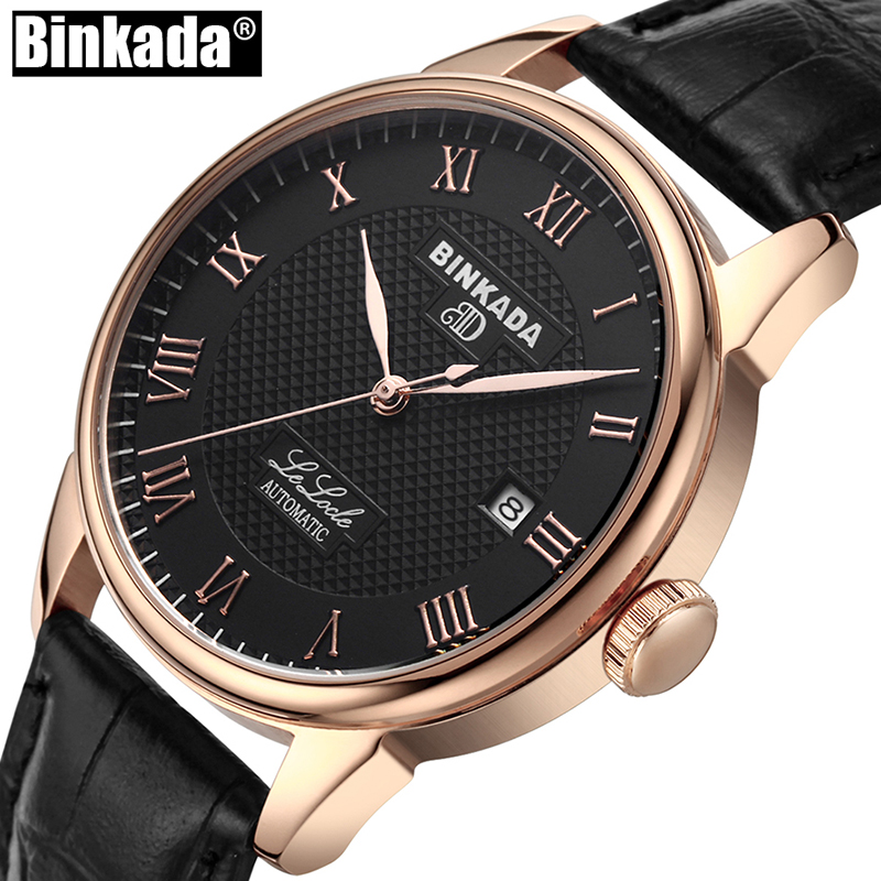 купить Luxury BINKADA Automatic Mechanical Watch Classic Mens AUTO Date Self-Winding Mens Watch Skeleton Tourbillon Men Wristwatch по цене 3282.64 рублей