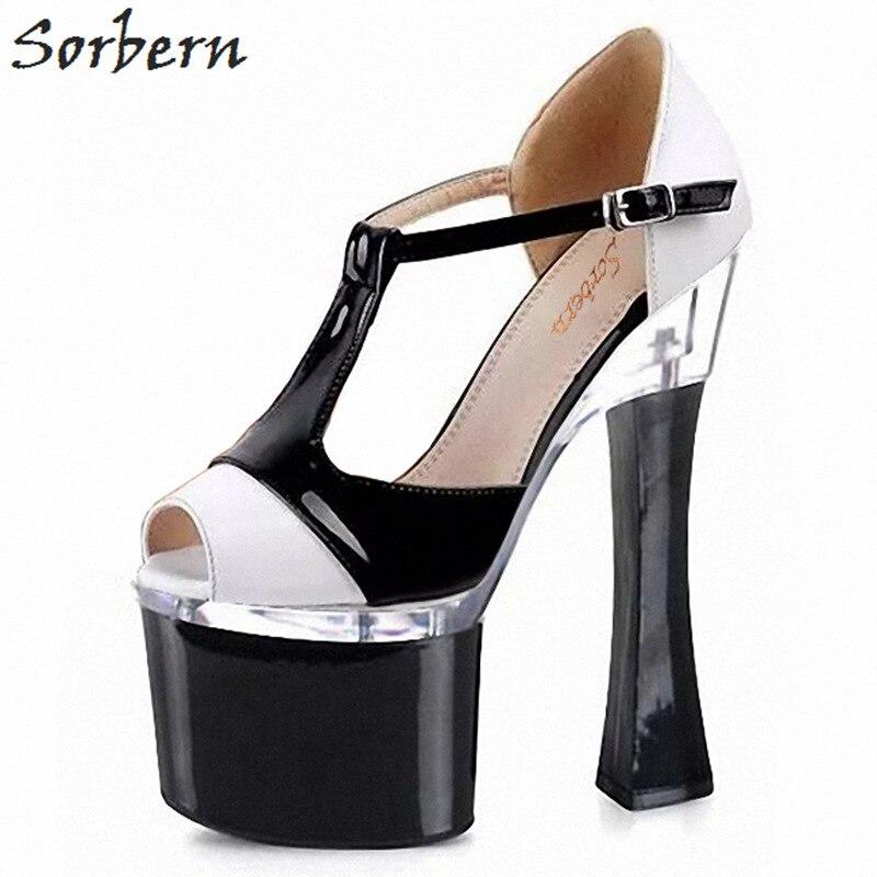 Sorbern Weiß Und Schwarz T Strap Heels Peep Toe Retro Schuhe Frauen Komfortable High Heels Womans Diy Farben 2018 Frauen pumpen - 2