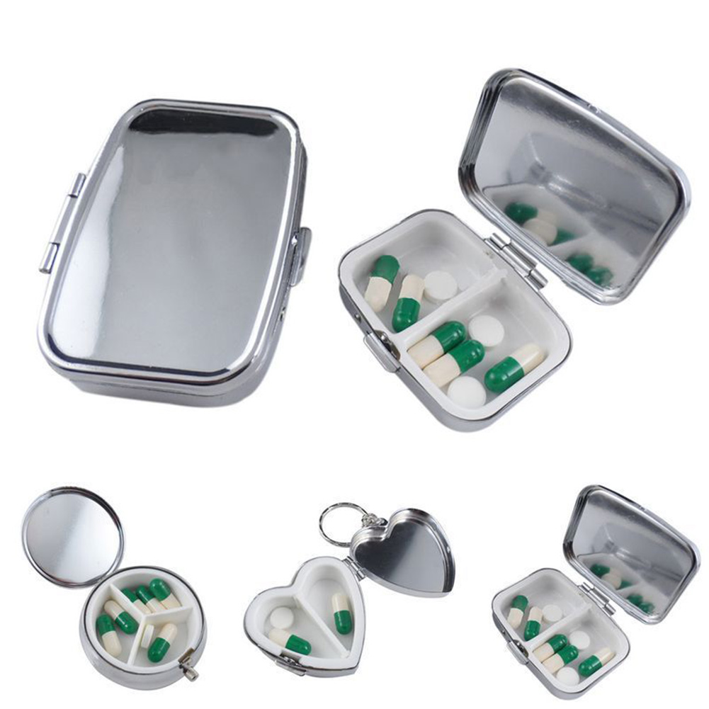 portable durable metal round medicine or pill organizer container and medicine case