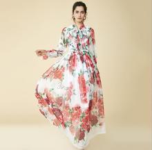 2018 Roses Letter Print 100% Silk Women's Maxi Dress High End Collar Ribbon Long Sleeves Summer Dress Elegant Beach Dress 80170