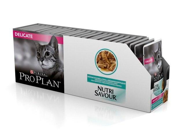 Pro Plan Nutrisavour Delicate пауч для кошек с чувствительным пищеварением с океанической рыбой (кусочки в соусе, 24*85 г)