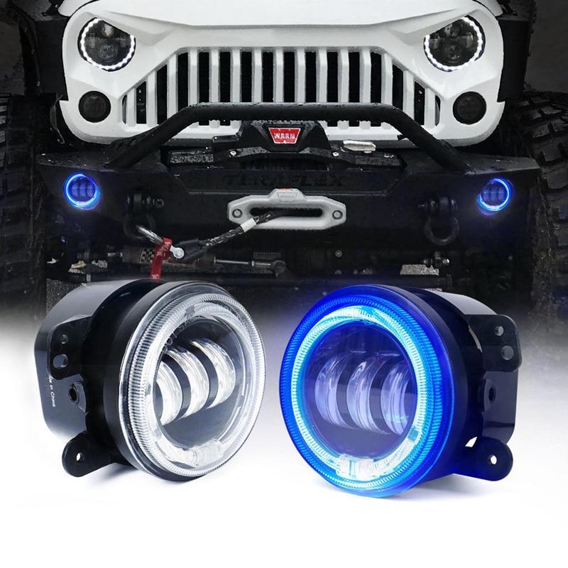 30 W 4 Inch Ronde Led Mistlamp Wit Halo Ring Angel Eyes & Wit Lamp Drl Bulb Hoek Ogen Voor Jeep Wrangler Jk Lj Tj Voor Snelle Verzending