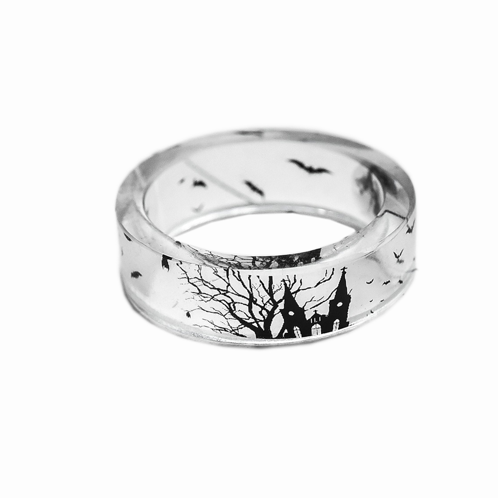 Fashion Handmade Transparent Bat And Trees Resin Rings Scenery