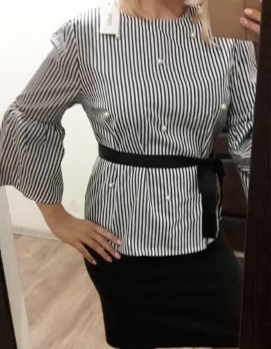 Sale! Pearls Beading Striped Shirts With Flare Sleeves (Us 2-14)