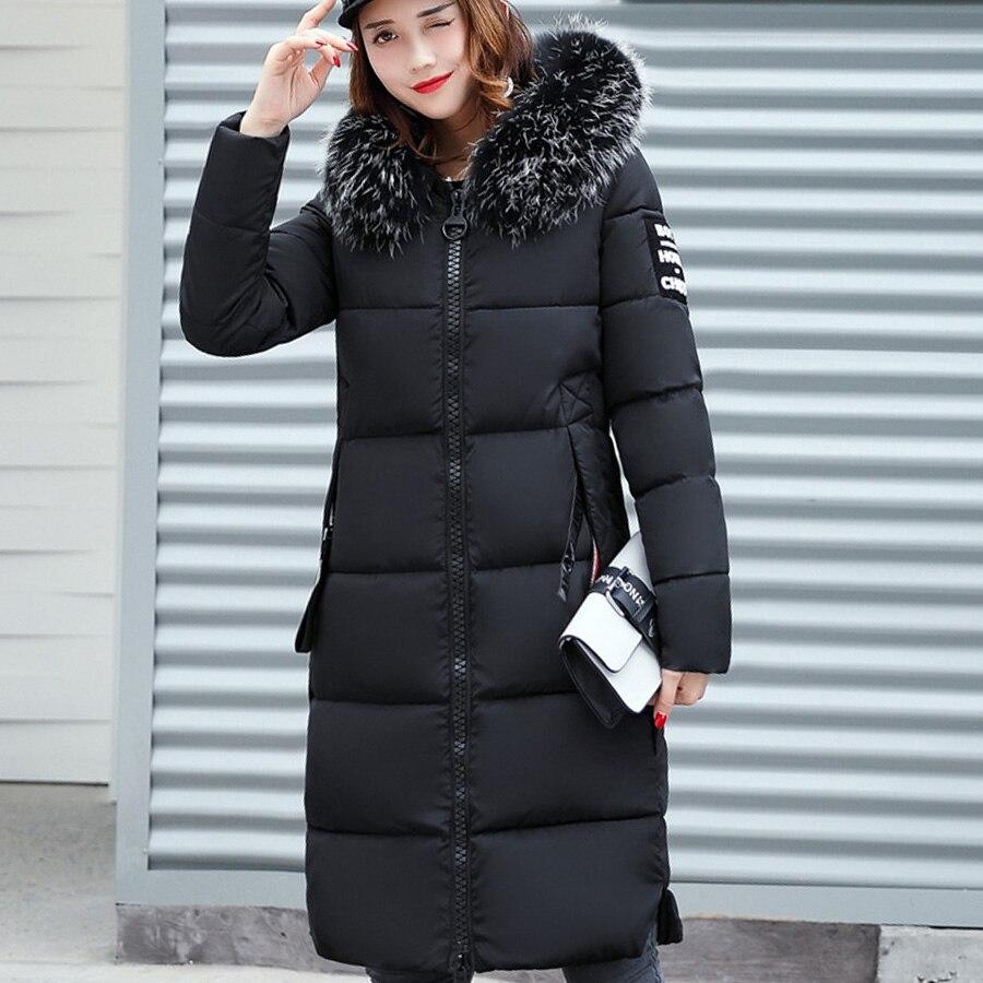 Меховой Воротник Капюшоном Хлопка Проложенный Длинное Пальто Женщины Куртка Сгущает Теплая Куртка Женская
