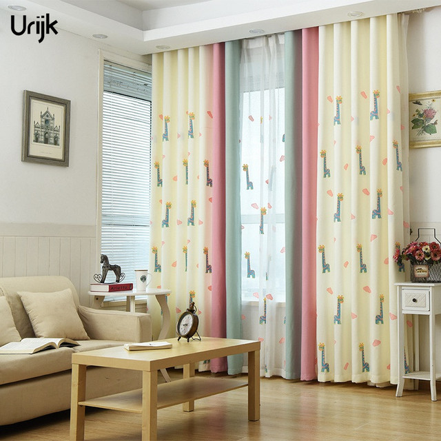 Urijk 1PC Cute Decor Curtains For Living Room Animal Pattern Beige Color  For Kids Room Modern