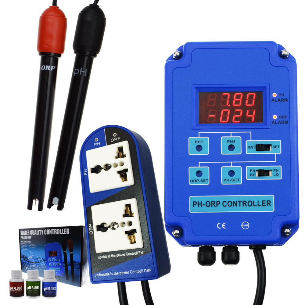 Numérique pH ORP Redox 2 dans 1 Contrôleur Moniteur w/Puissance de Sortie Relais Contrôle Électrode Sonde BNC pour Aquarium la culture hydroponique Plantes