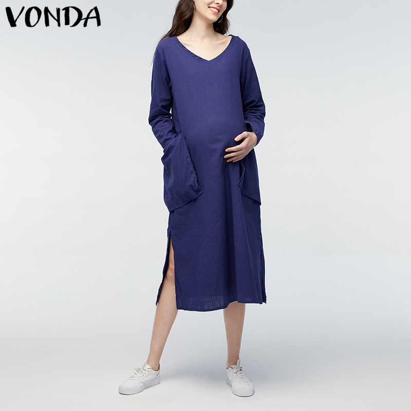 VONDA Maternity Clothings 2018 Spring Autumn Pregnant Women Casual Loose Mid-calf Dresses Long Sleeve V Neck Pregnancy Vestidos