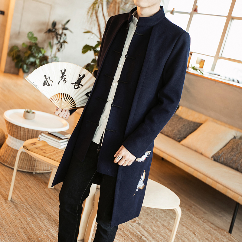 MRDONOO 2017 China Wind Men In The Long Woolen Coat Embroidered Retro Pankou Costume Chinese Young Men Loose Code Tide