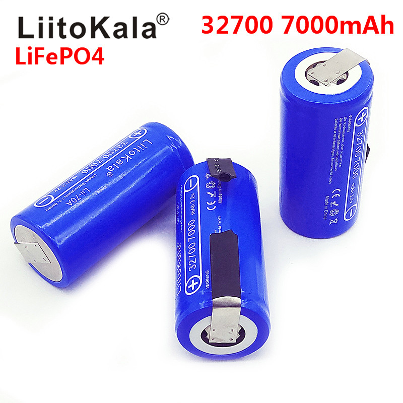 2019 LiitoKala 3.2V 32700 7000mAh 6500mAh LiFePO4 Battery 35A Continuous Discharge Maximum 55A High power battery+Nickel sheets