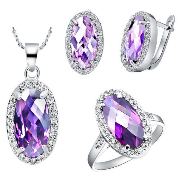 Uloveido Silver Color Jewelry Set Oval Combination Pendant Necklace Earrings Ring Fashion Wedding Crystal Jewelry Sets T083