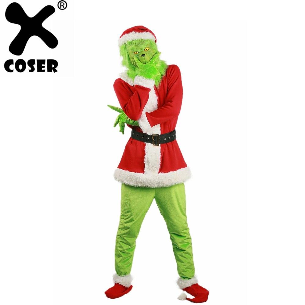 XCOSER Brand New Vendita 2018 Santa Grinch Costume Come il Grinch Stole Christmas Cosplay Del Partito del Vestito Abiti per le Donne Degli Uomini