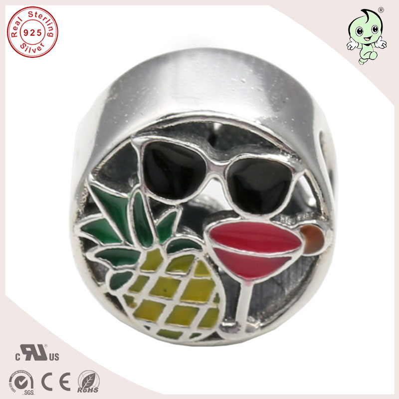 Top Quality Summer Collection Enamel Pineapple And Sunglass Pattern 925 Sterling Silver Charm Fitting European Famous Bracelet