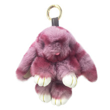 New faux fur rabbit key chain pendant ladies bag car key hang plush toy accessories holiday gifts(China)