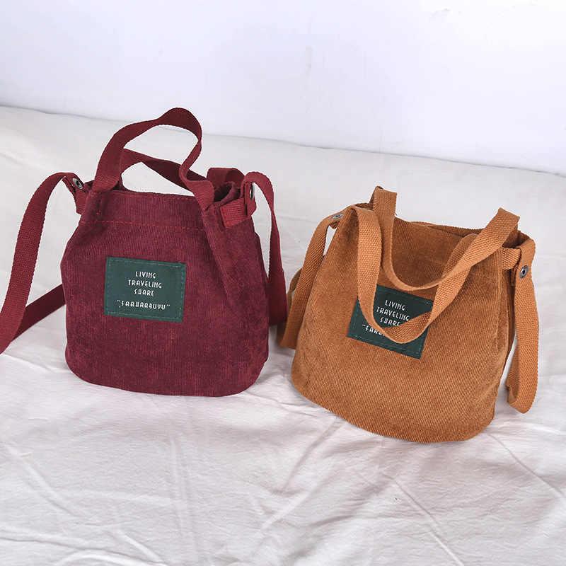 c6118f539 ... Vintage corduroy canvas bag women Simple solid color art Original  handbag bucket bag letter print shoulder ...