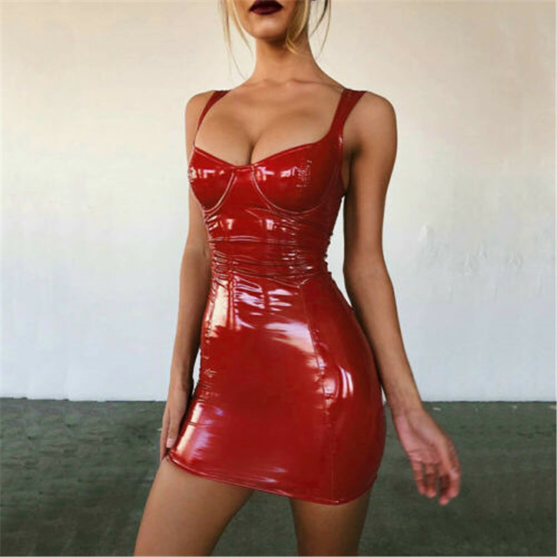 2019 Sexy Backless Club Party Short Dress Solid Black Wet Look Latex Bodycon Faux Leather Push Up Bra Mini Micro Dress Leotard 11